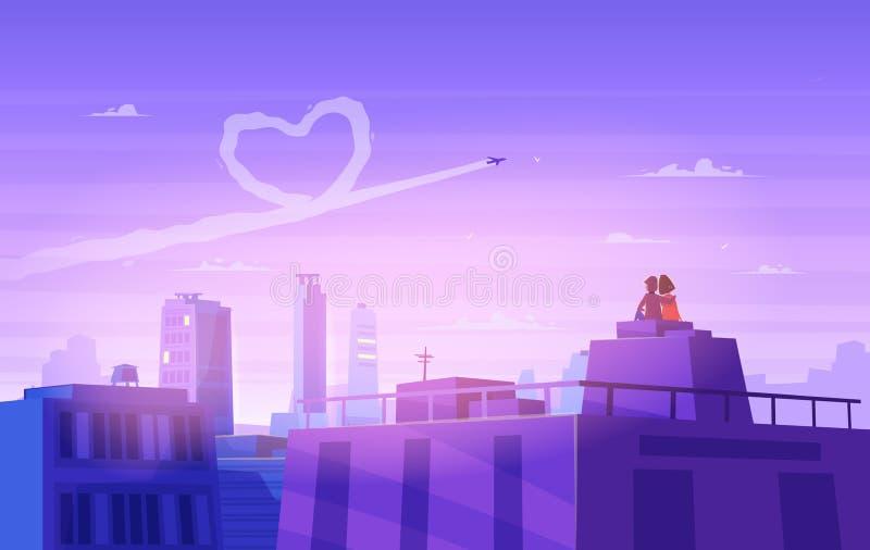 Mirada del muchacho y de la muchacha sobre paisaje urbano Día romántico Ejemplo lindo del vector stock de ilustración