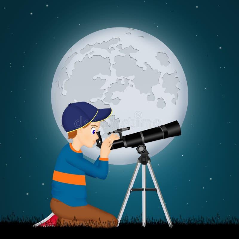 Mirada del niño en el telescopio stock de ilustración