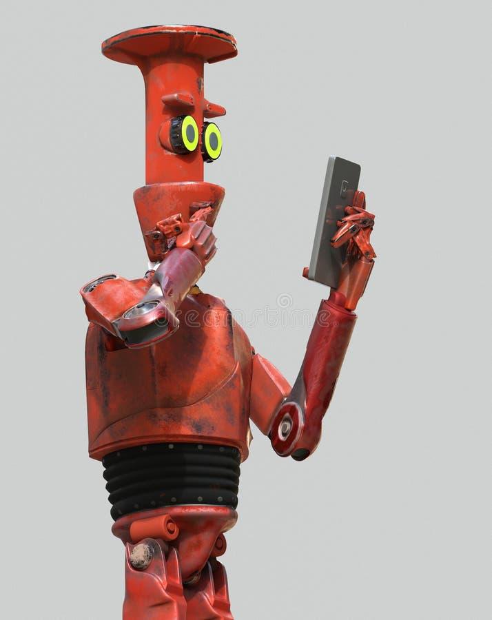 Mirada del robot del vintage del Grunge en el teléfono celular representación 3d libre illustration
