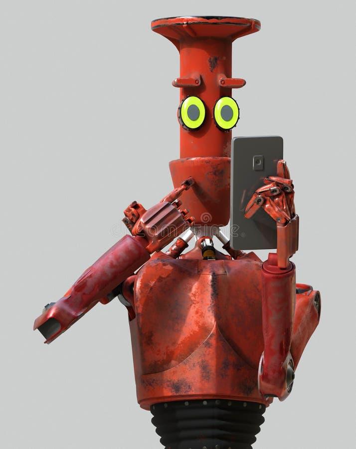 Mirada del robot del vintage del Grunge en el teléfono celular representación 3d ilustración del vector