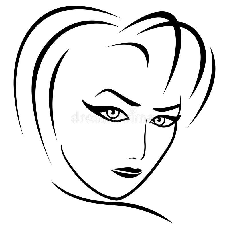 Mirada femenina abstracta stock de ilustración