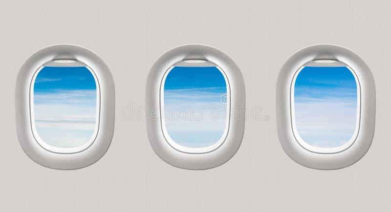 Mirada hacia fuera de las ventanas de un avión al cielo azul y a las nubes ilustración del vector