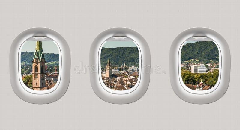 Mirada hacia fuera de las ventanas de un avión a la ciudad de Zurich stock de ilustración
