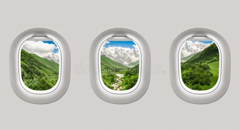 Mirada hacia fuera de las ventanas de un avión a las montañas en Georgia stock de ilustración