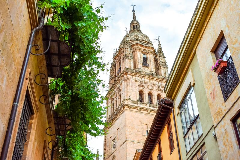 Mirada hacia la torre de la nueva catedral de Salamanca imágenes de archivo libres de regalías