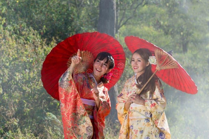 Mirada japonesa de las mujeres del kimono imagenes de archivo