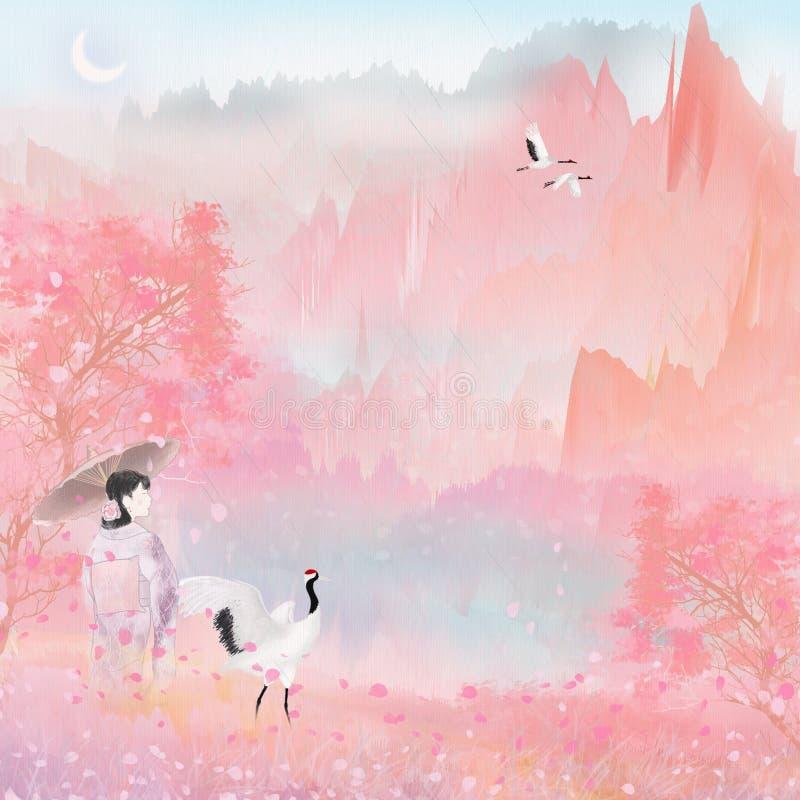 Mirada japonesa del turismo del alpinismo del ` s de las mujeres del kimono en el empaquetado del ejemplo de la luz de la nube de ilustración del vector