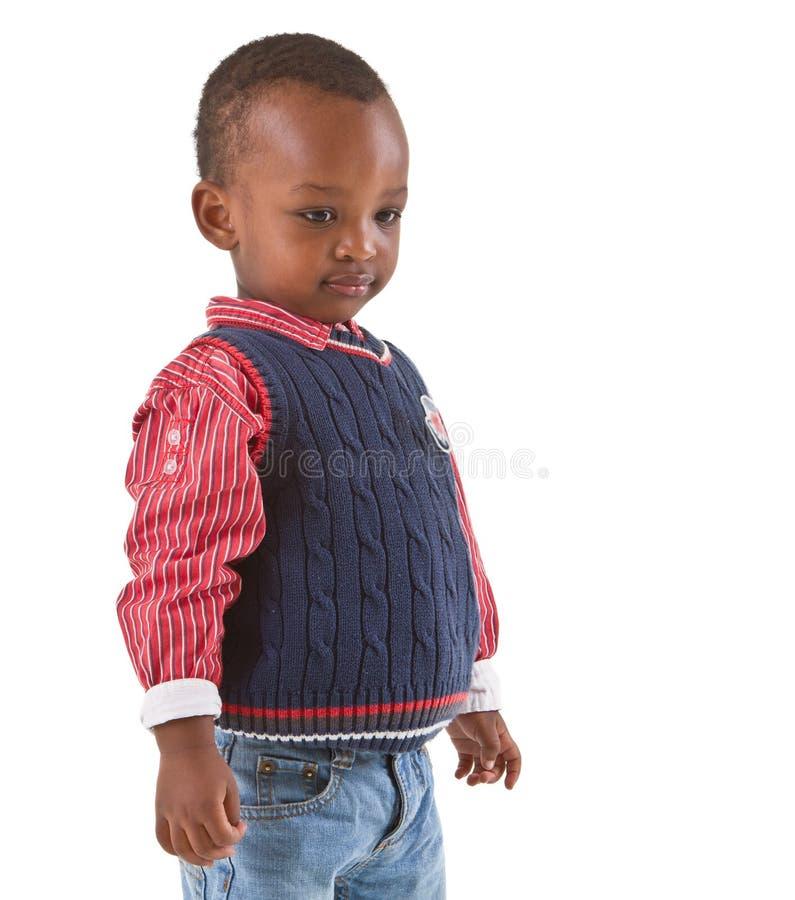 Mirada negra joven linda del muchacho foto de archivo