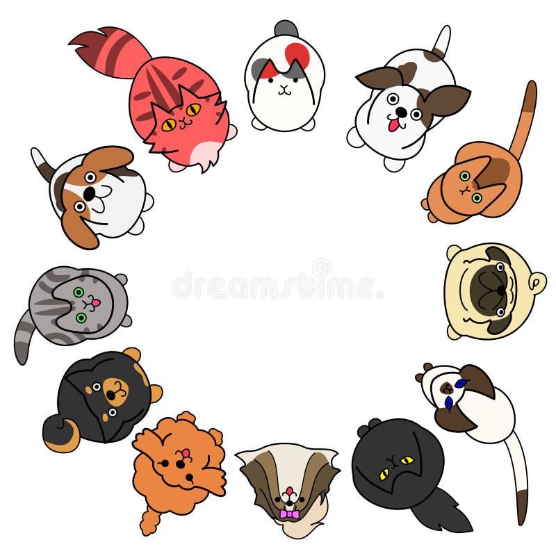 Mirada para arriba de perros y de gatos en círculo con el espacio de la copia stock de ilustración