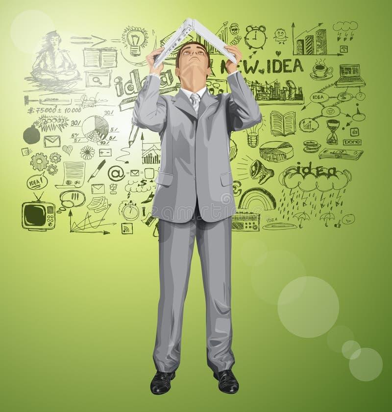 Mirada para arriba de pieles del hombre de negocios del vector debajo del ordenador portátil 03 stock de ilustración