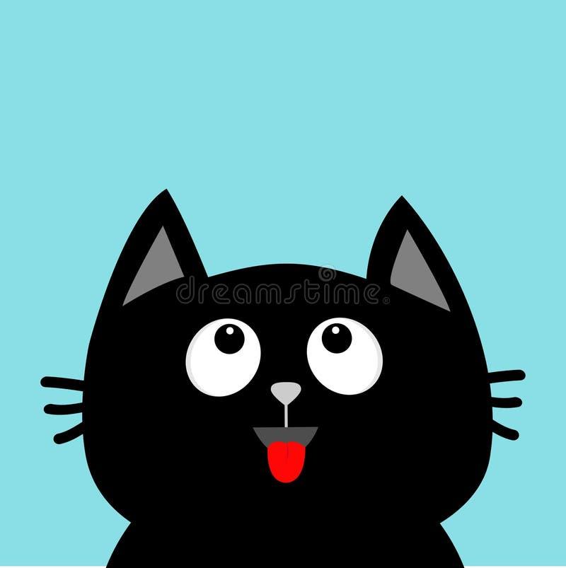 Mirada principal del gato negro para arriba Lengüeta roja Emoción sorprendida Personaje de dibujos animados lindo Tarjeta de la c ilustración del vector