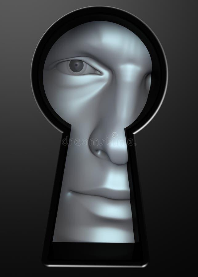 Mirada a través del ojo de la cerradura ilustración del vector