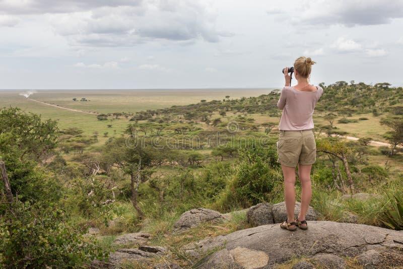 Mirada turística femenina a través de los prismáticos en safari africano en el parque nacional de Serengeti Tanzania, Afrika imagen de archivo