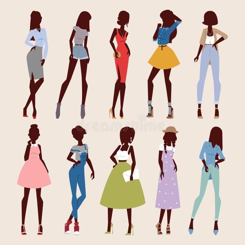 Miradas abstractas de las muchachas del vector de la moda libre illustration