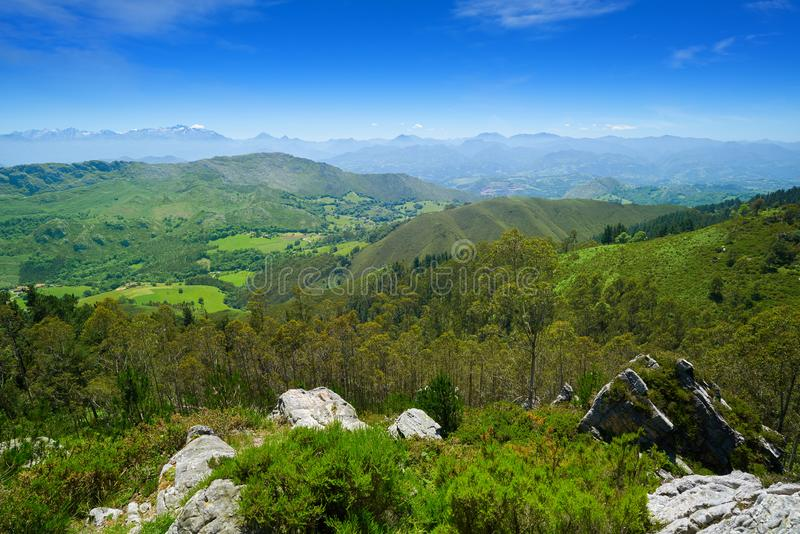 Mirador del Fitu synvinkel Fito i Asturias Spanien arkivfoto