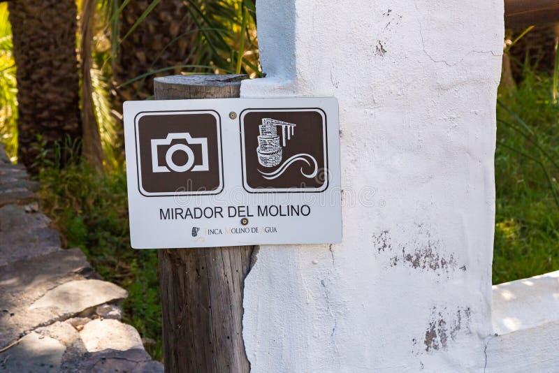 Mirador del Molino. Photograph of a sign Mirador del Molino, Fataga, Gran Canary, Spain royalty free stock photography