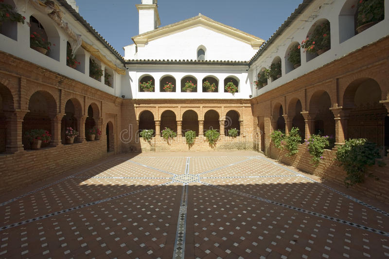 Mirador of the Friars and Mudejar style courtyard and cloisters of 15th-century Franciscan Monasterio de Santa Mar�a de la. R�bida, Palos de la royalty free stock photography
