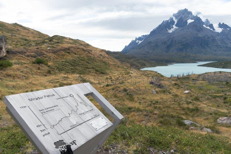 Mirador Pehoe statusuppdatering i Torres del Paine arkivbilder