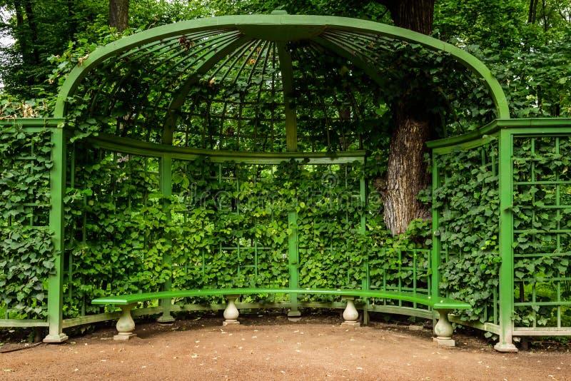 miradouro com o banco no jardim do verão do parque, StPetersburg, Rússia fotos de stock royalty free