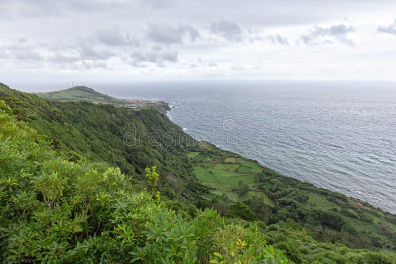 Miradouro da Faja do Conde. Groovy view from the Miradouro da Fajã do Conde viewpoint in Flores, Azores stock photo