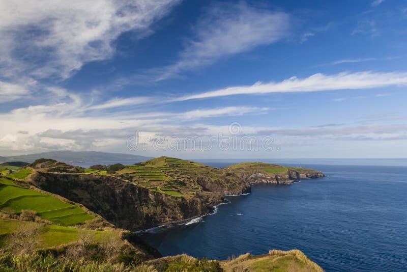 从Miradouro De圣诞老人Iria,亚速尔群岛,葡萄牙的看法 库存图片