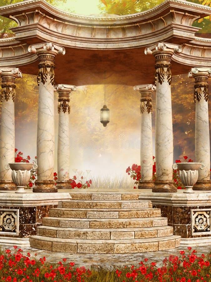 Miradouro de mármore com flores do outono ilustração royalty free