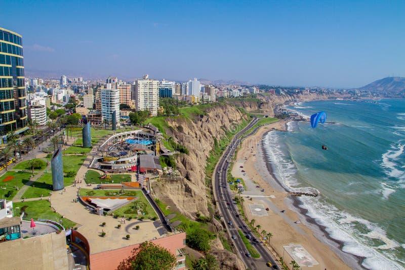 Miraflores公园,利马-秘鲁视图  库存照片