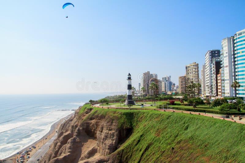 Miraflores城镇横向在利马秘鲁 免版税库存照片