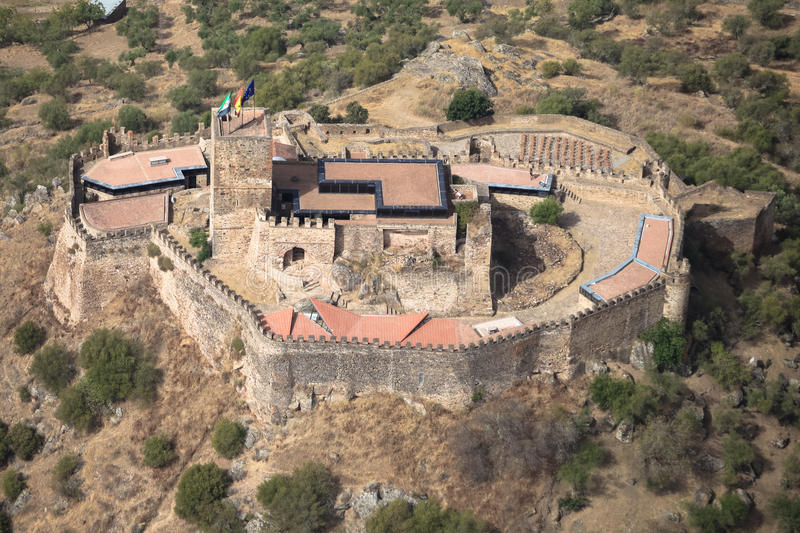 Miraflores Alconchel Castle, Extremadura, Spain. Alor mountain. Miraflores Alconchel Castle, Extremadura, Spain. Air view royalty free stock image