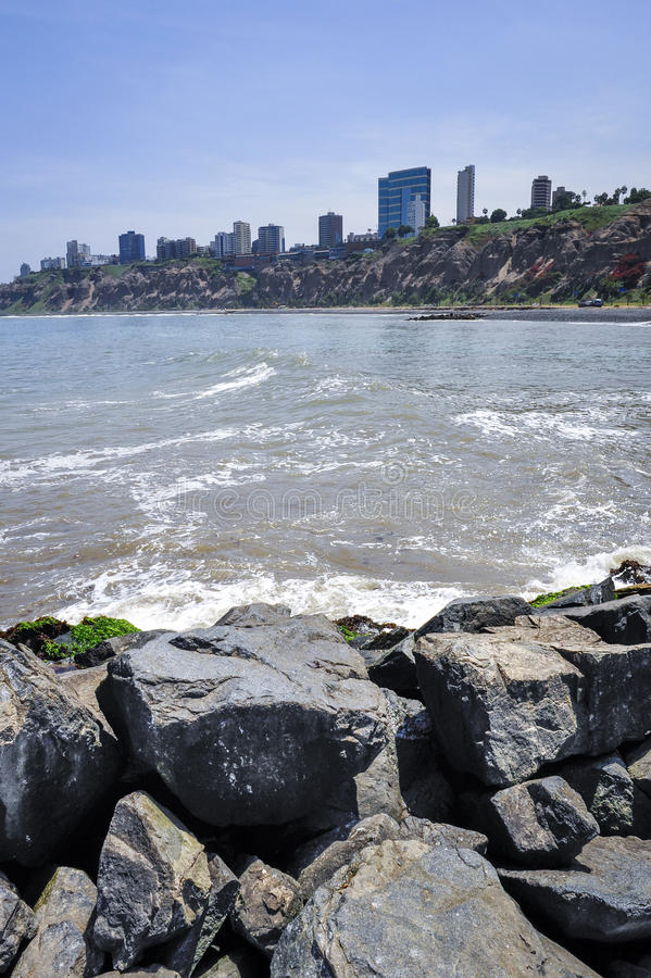 Miraflores district in Lima, Peru. View from pier royalty free stock photography