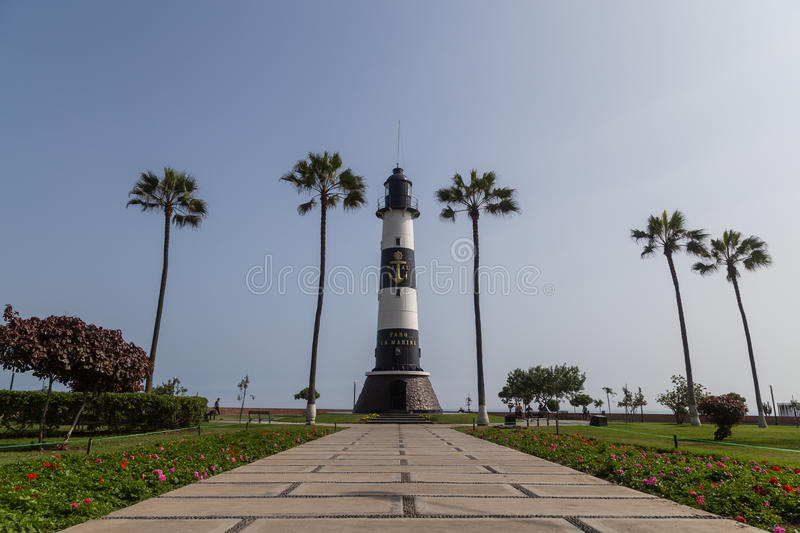 Miraflores Lighthouse. Lima, Peru - 29 August, 2015: Photograph of the lighthouse Faro de Marina in the district Miraflores royalty free stock photography