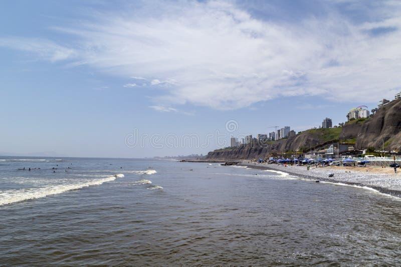 Miraflores, Lima, Perú vara 20 de enero de 2019, vista panorámica de Lima de Miraflores, Perú fotografía de archivo libre de regalías
