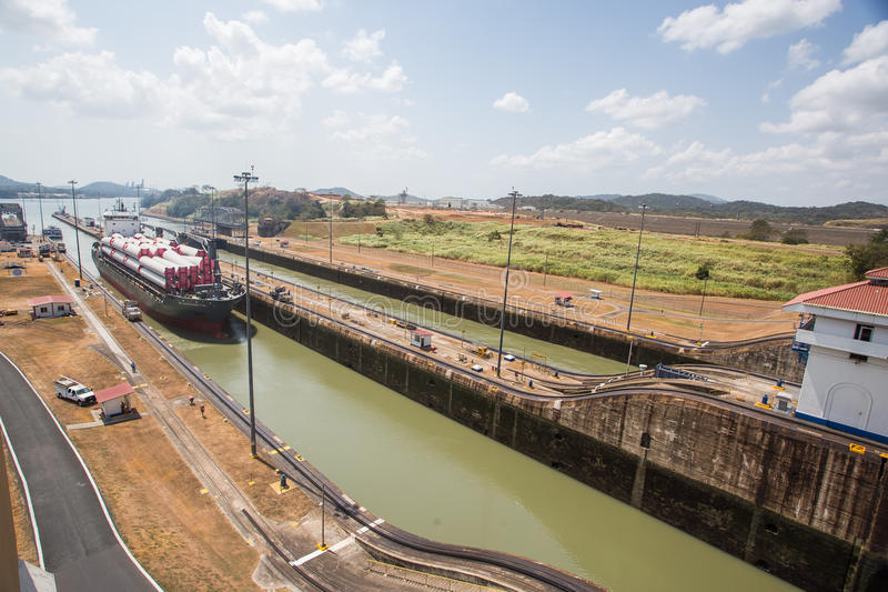 Miraflores Locks, Panama Canal. The Miraflores Locks building, located at the locks nearest the Pacific Ocean and Panama City, at the Panama Canal, Central stock image