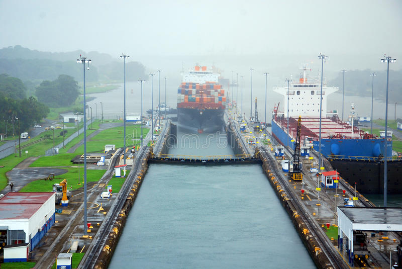 MIRAFLORES LOCKS. PANAMA CANAL-NOV. 7: Miraflores is the name of one of the three locks that form part of the Panama Canal. On nov. 7 2012 in Panama. Ships are stock images