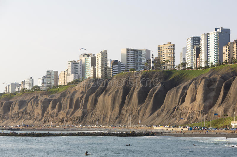 Miraflores with residential buildings and people on the beach, L. Panoramic view of Miraflores with residential buildings and people resting on the beach in Lima royalty free stock image