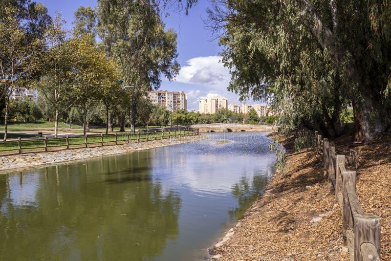 Miraflores społeczeństwa zieleni park panoramiczny, lokalizować w Seville zdjęcia stock