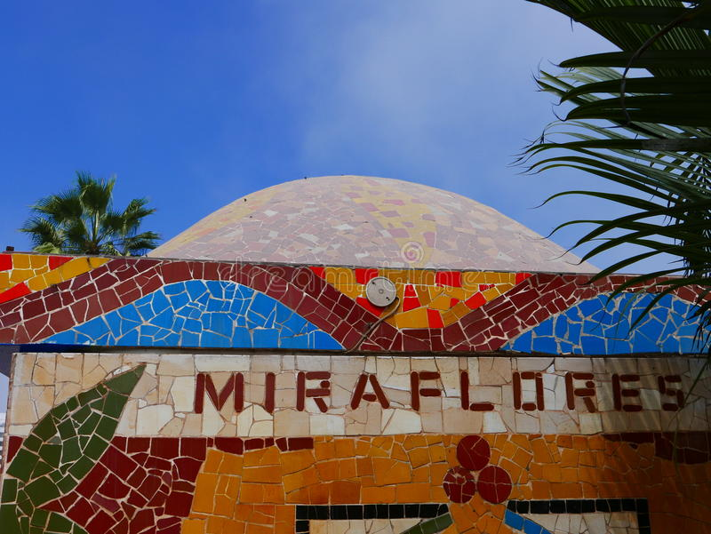 Miraflores tiled wall. Miraflores on a tiled wall in the love park (El Parque del Amor) in Miraflores touristic district of Lima, Peru. The photo was taken in a royalty free stock image