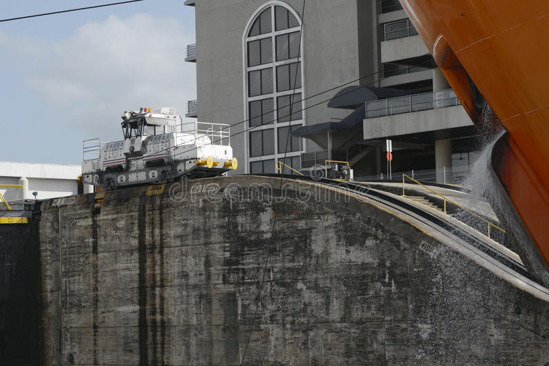 Miraflores-Verschlüsse an Panamakanal lizenzfreie stockfotografie