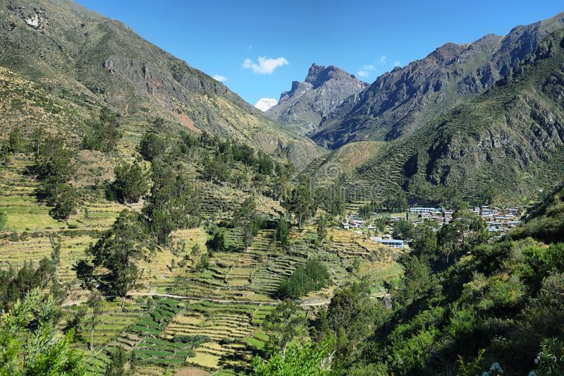 Miraflores village , Peru. Miraflores village with Ticlla peak 5897m at background from the way to ancient village of Huaquis in Nor Yauyos Cochas, Peru stock images