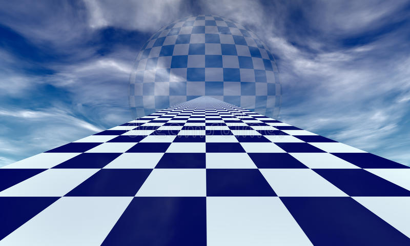 Mirage (chess metaphor). Chess road in the blue clouds. Available in high-resolution and several sizes to fit the needs of your project stock illustration