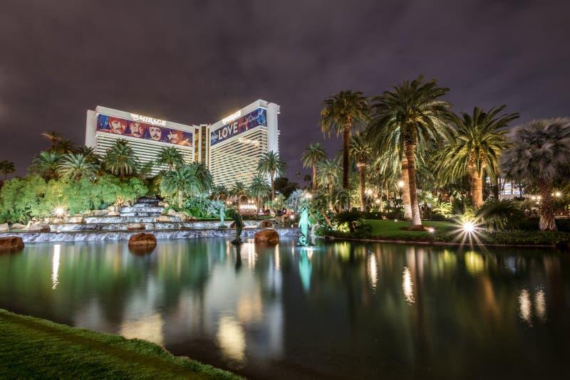 Mirage Hotel Casino at Night - Las Vegas, Nevada, USA stock photos