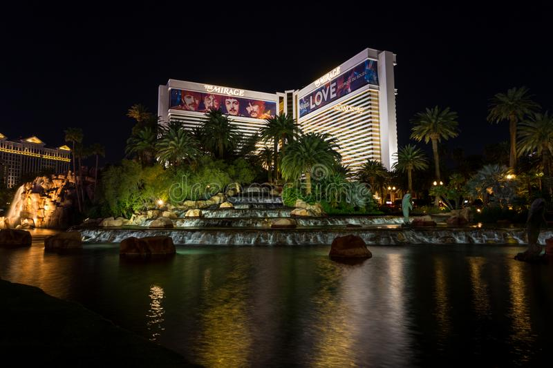 The Mirage hotel and casino at night stock image