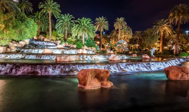 Mirage hotel casino volcano fountain at night stock photos