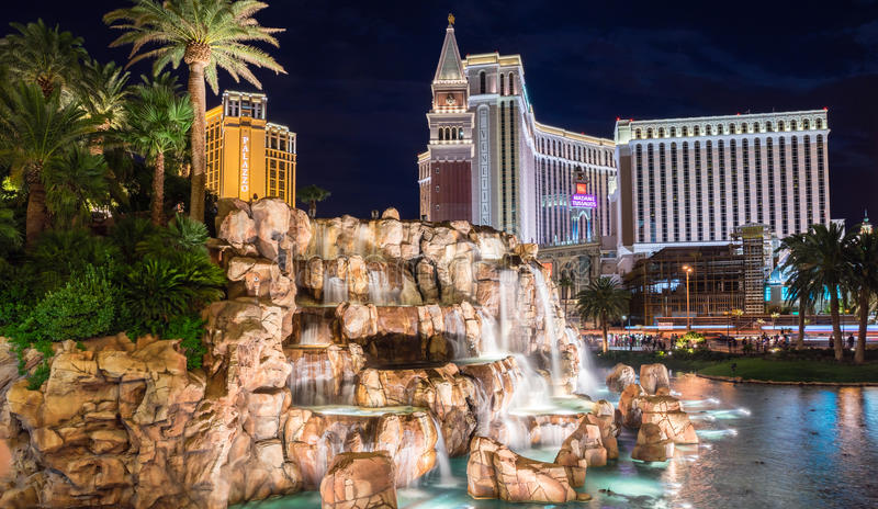 Mirage Hotel and Casino waterfall at night stock images