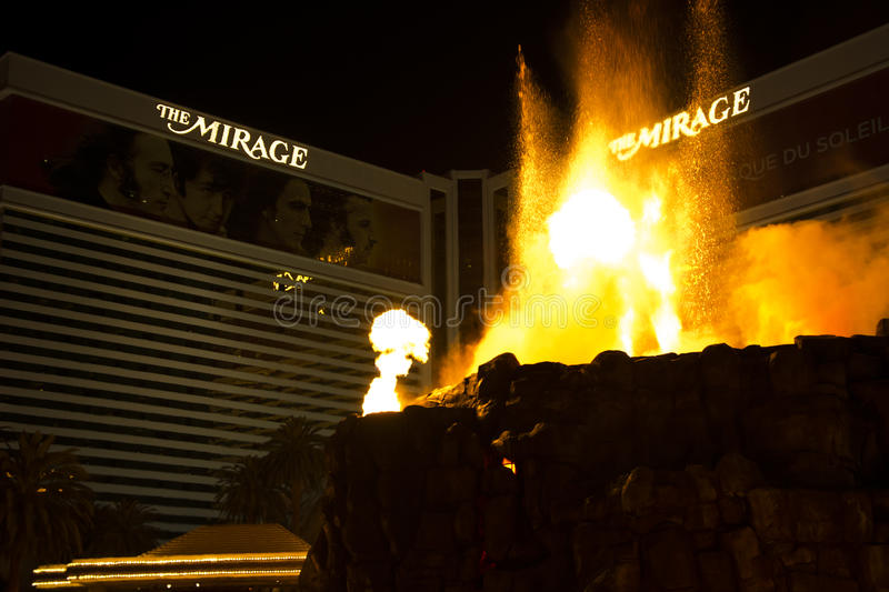 The Mirage Hotel, Las Vegas. Volcano show at the Mirage Hotel, Las Vegas, Nevada, USA royalty free stock images