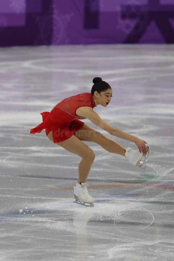 Mirai Nagasu van de Verenigde Staten voert in Team Event Ladies Single Skating het Vrije Schaatsen uit royalty-vrije stock foto's