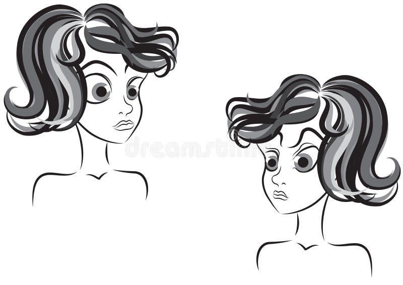 Mirakel- och ilsken flickavektorillustration royaltyfri illustrationer