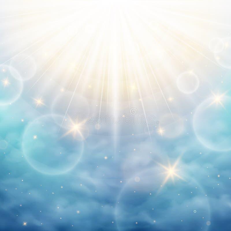 Mirakel van de dag met alle bijzonderheden op de blauwe hemel De de zomertijd met zonnig glanst achtergrond royalty-vrije illustratie