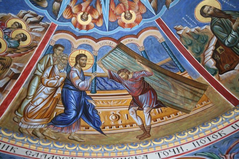 Mirakelen aan Jesus worden toegeschreven die stock fotografie