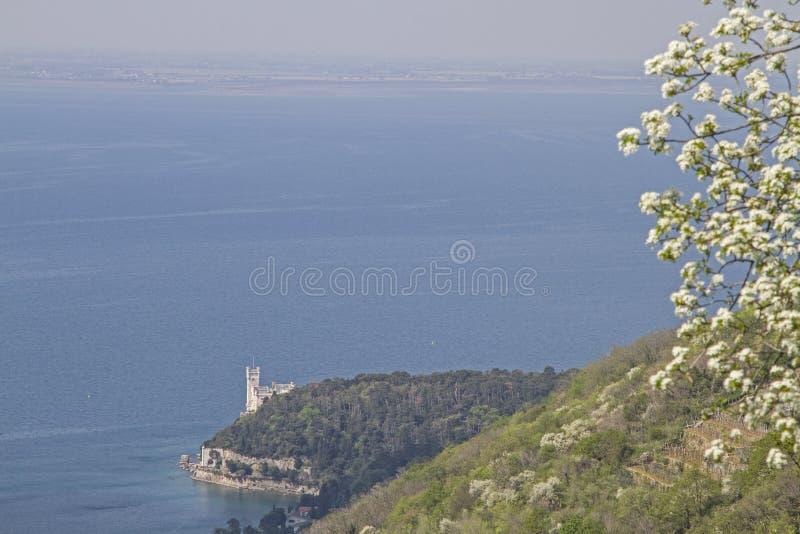 Miramare城堡深刻的看法  图库摄影